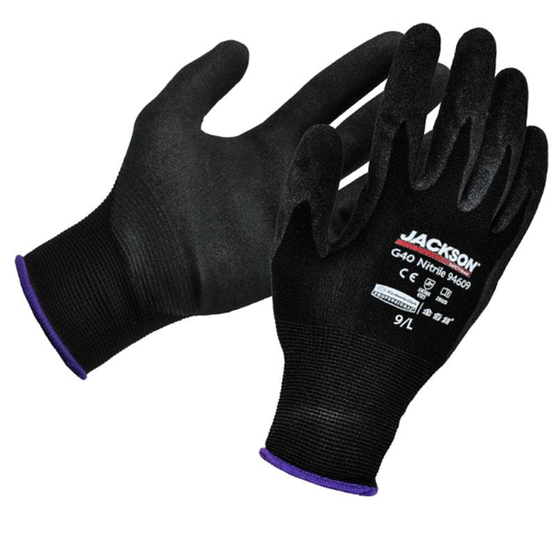 金佰利 Jackson Safety 94608 G40黑色丁腈涂层耐磨型通用机械手套(深蓝边)8号